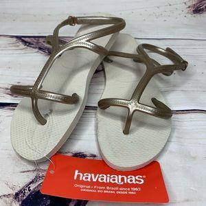 HAVAIANAS Sling Back Rubber T-Strap Bronze Sandal.
